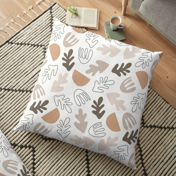 Leaves Shapes Pattern Minimal Abstract Floor Pillow