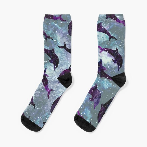 Space Dolphins Pattern Socks