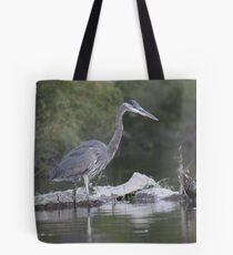 Great Blue Heron on Milwaukee River Tote Bag