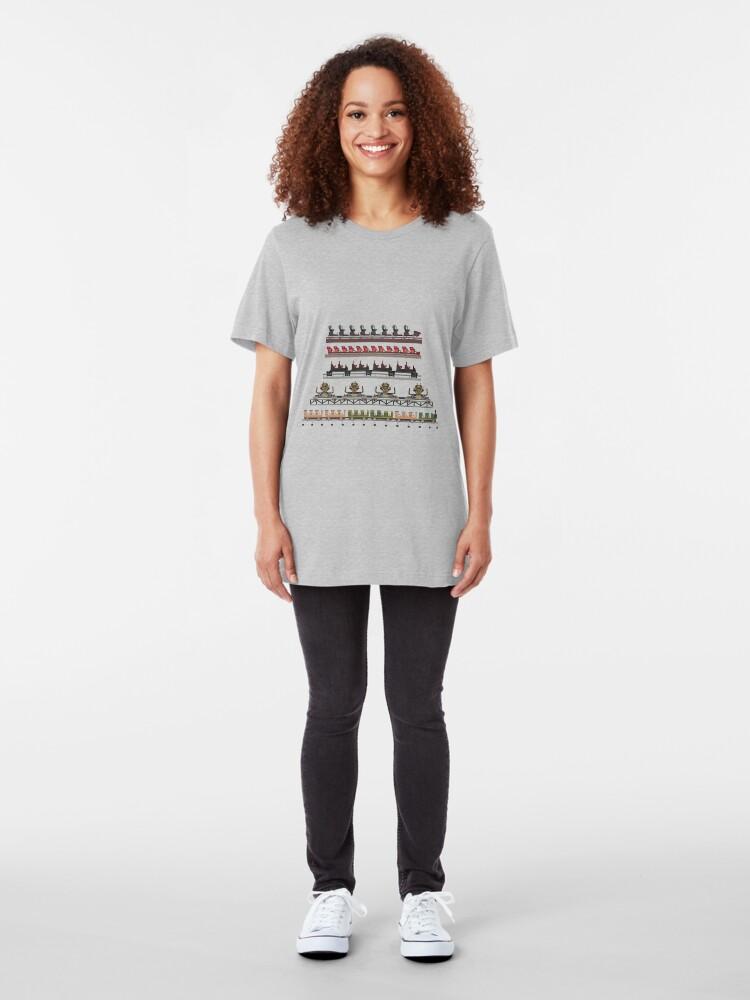 Alternate view of Silver Dollar City Coaster Trains Design Slim Fit T-Shirt