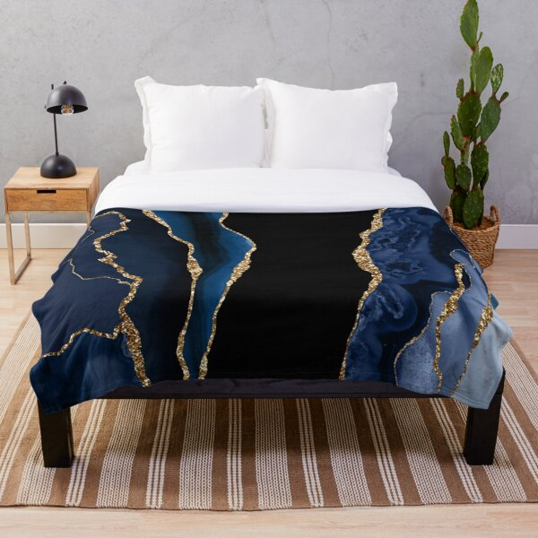 Abstract Blue and Gold Modern Geode Agate Design Throw Blanket
