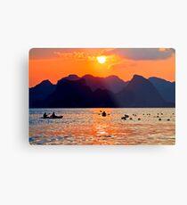 Halong Bay kayaks and sunset Metal Print