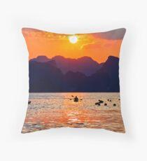Halong Bay kayaks and sunset Throw Pillow
