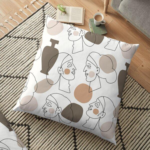 Minimal Abstract Face Pattern Floor Pillow