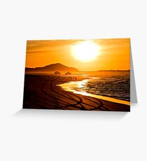Beach highway sunset (Moreton Island, Australia) Greeting Card