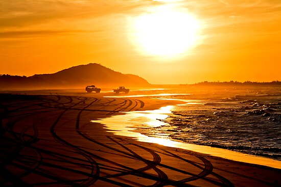 Beach highway sunset (Moreton Island, Australia) by kmatm