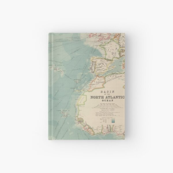 Vintage Atlantic Ocean Travel Routes and Timeline Map (1912) Hardcover Journal