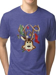 Reindeer Antlers and Christmas Stockings Tri-blend T-Shirt