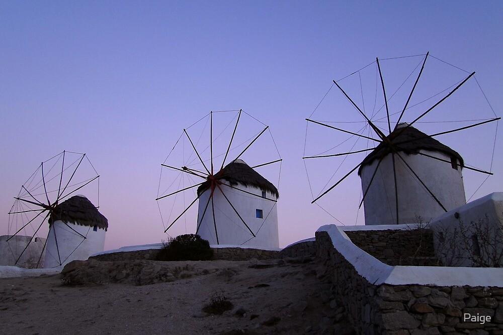 Windmills at Mykonos by Paige