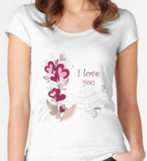 A bouquet of hearts card Women's Fitted Scoop T-Shirt