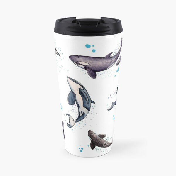 """Orca Pod in Watercolor"" by Amber Marine, Killer Whale Art, © 2019 Travel Mug"