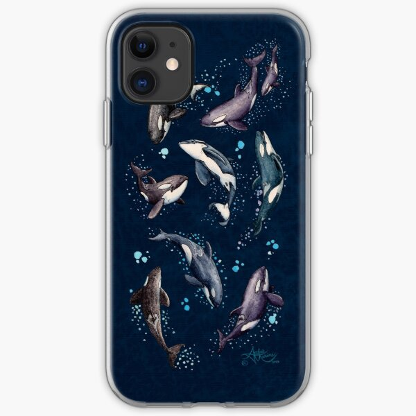 """""""Orca Pod in Watercolor"""" by Amber Marine, (Navy Blue Version) Killer Whale Art, © 2019 iPhone Soft Case"""