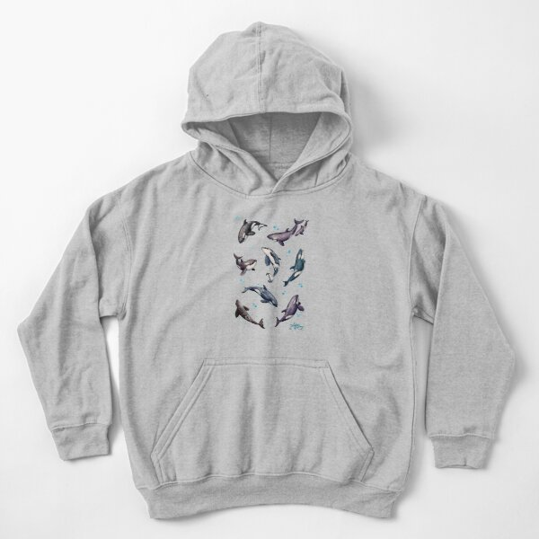 """""""Orca Pod in Watercolor"""" by Amber Marine, Killer Whale Art, © 2019 Kids Pullover Hoodie"""