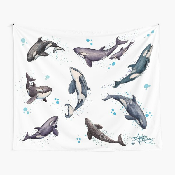 """""""Orca Pod in Watercolor"""" by Amber Marine, Killer Whale Art, © 2019 Tapestry"""