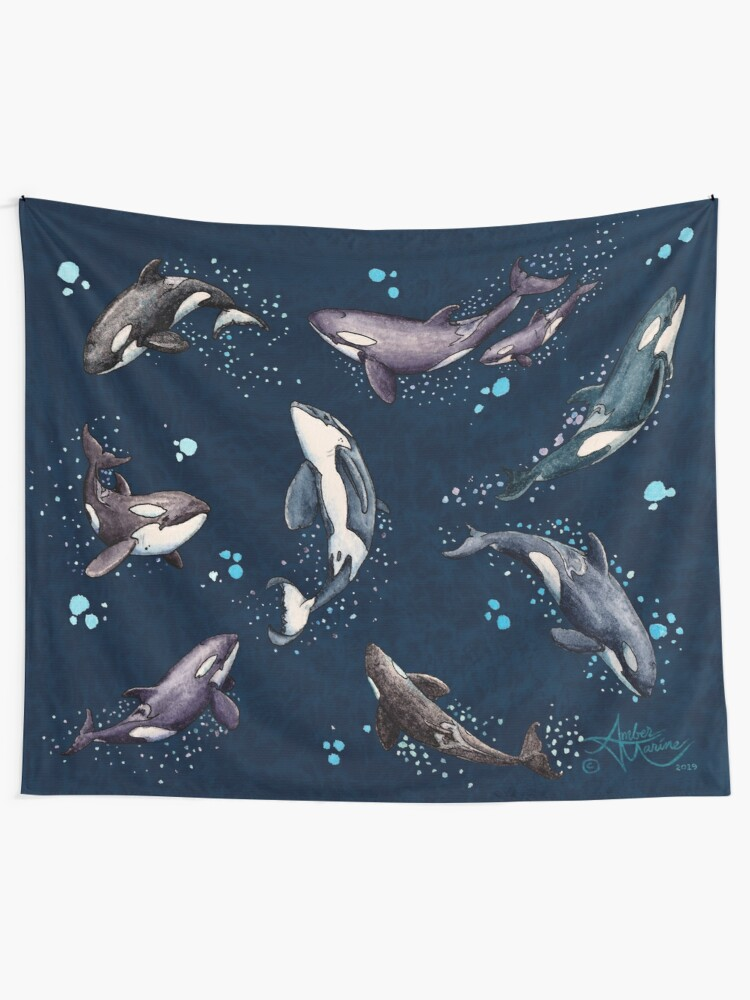 """Alternate view of """"Orca Pod in Watercolor"""" by Amber Marine, (Navy Blue Version) Killer Whale Art, © 2019 Tapestry"""