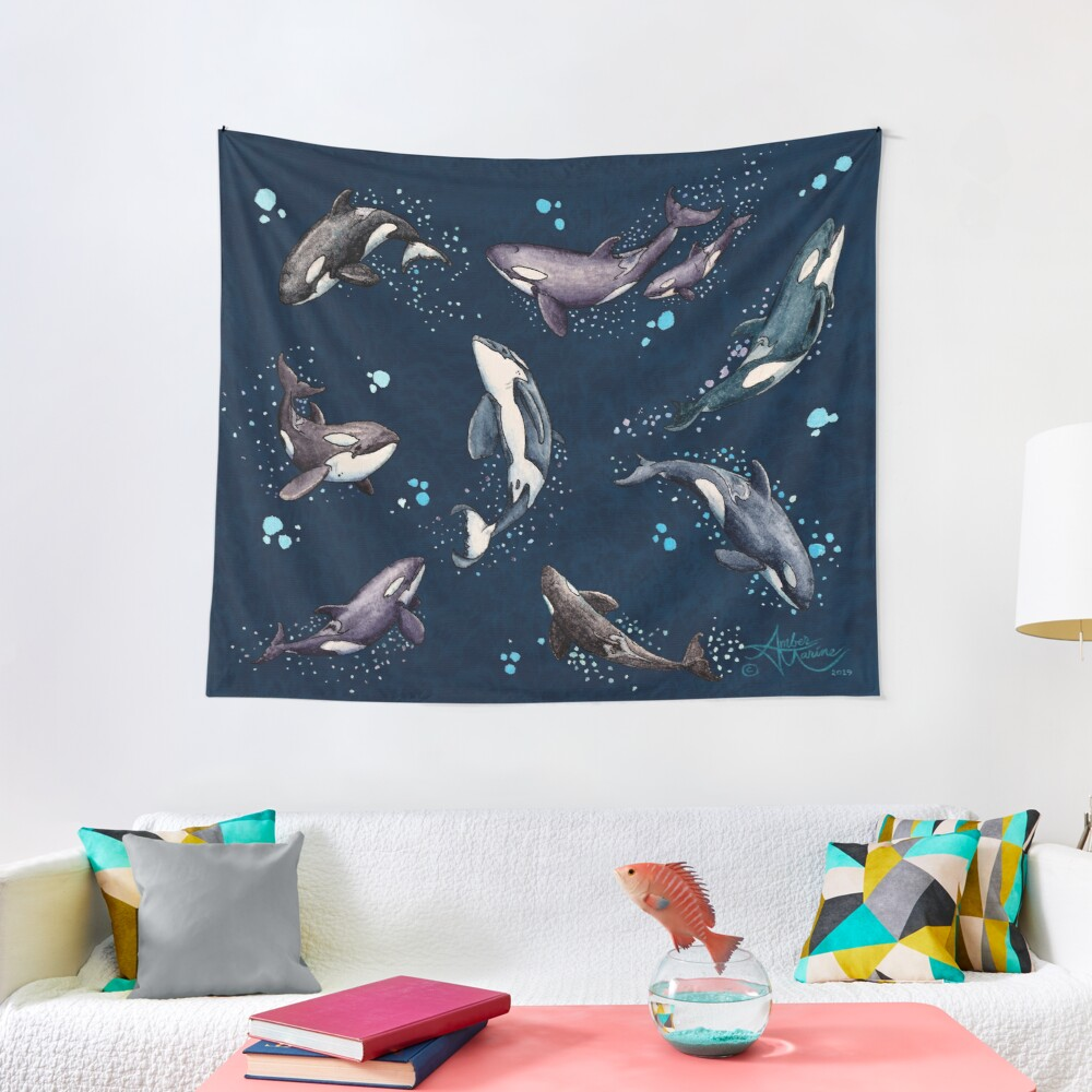 """""""Orca Pod in Watercolor"""" by Amber Marine, (Navy Blue Version) Killer Whale Art, © 2019 Tapestry"""