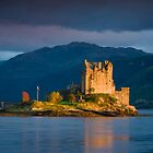 Scotland: Golden Light on Eilean Donan Castle by Angie Latham