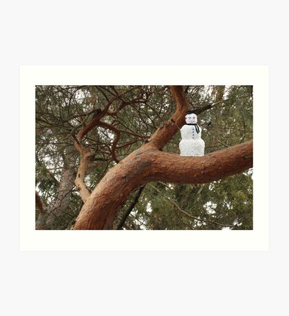 Snowman Climbed Tree Art Print