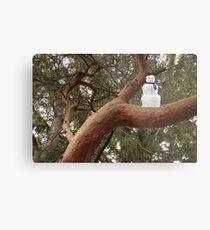Snowman Climbed Tree Metal Print