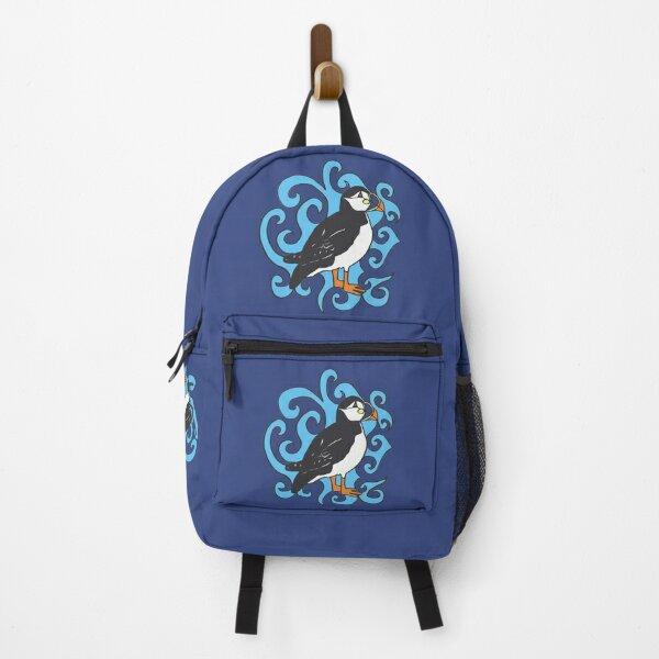 Puffin in Blue Swirls Backpack