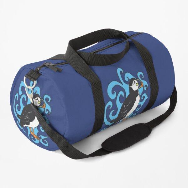 Puffin in Blue Swirls Duffle Bag