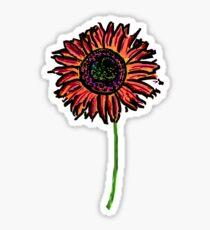 Red Himawari - Zen Sunflower Sticker