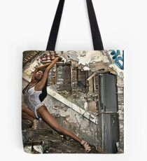 Whitney's graceful curve matched that of the deralict stairway. Tote Bag