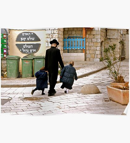 A Family Walks Home - Safed, Israel Poster
