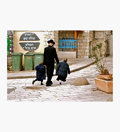 A Family Walks Home - Safed, Israel Photographic Print