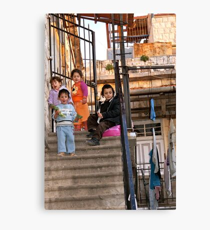 Two Boys and Two Girls - Safed, Israel Canvas Print