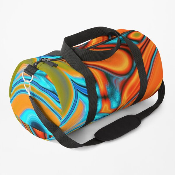 vivid modern Southwest hipster turquoise orange swirls Duffle Bag