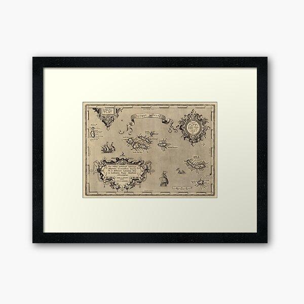 Vintage Map of Azores Islands (1608) Framed Art Print