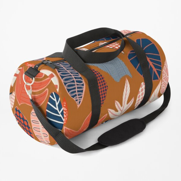 Patterned Foliage Rust Duffle Bag
