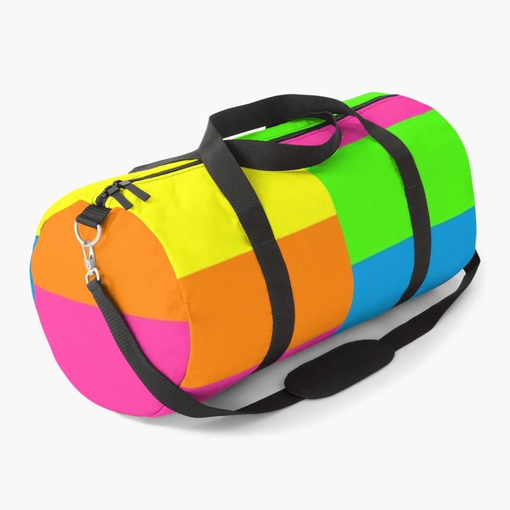 PLAIN SOLID NEON FLUORESCENT RAINBOW STRIPES 5 COLORS  Duffle Bag
