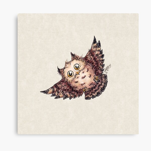 Superb Owl 2 by Amber Marine, Watercolor & Ink (Copyright 2020) Canvas Print