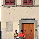 Deep red shutters by Karen E Camilleri