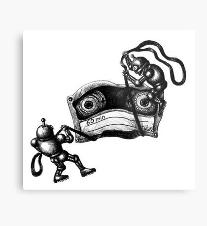 Robots Destroying the Cassette Tape pen ink drawing Metal Print
