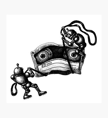 Robots Destroying the Cassette Tape pen ink drawing Photographic Print