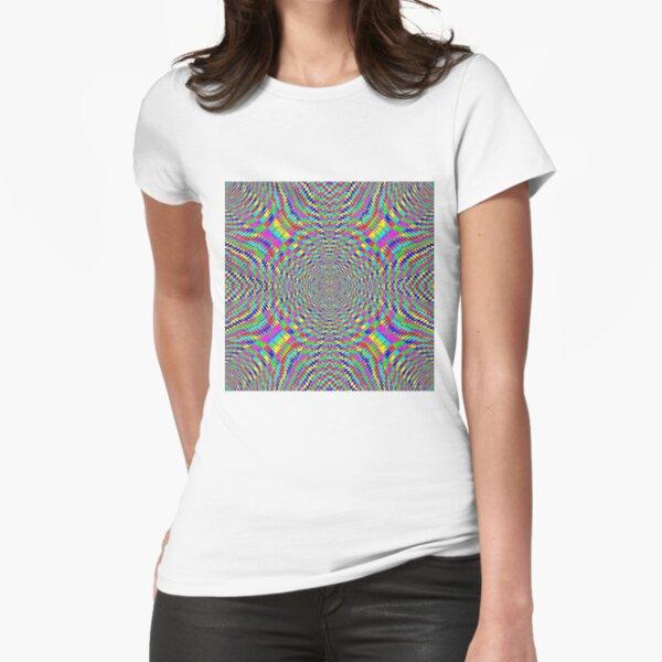 Optical illusion, Concentric Circles, Geometric Art - концентрические круги Fitted T-Shirt