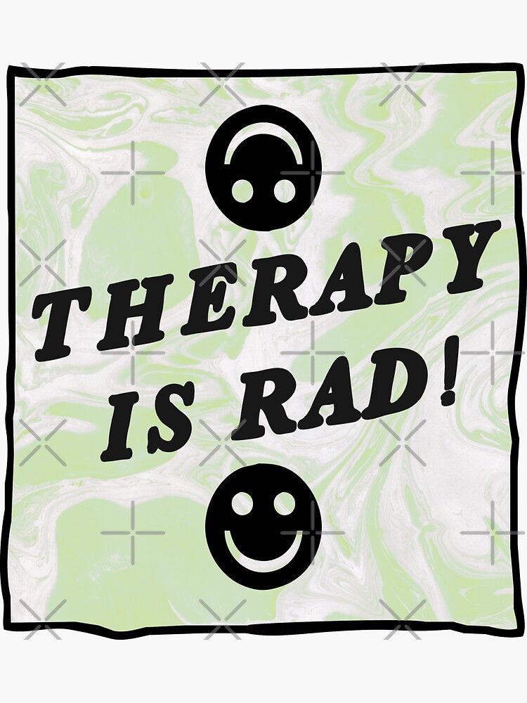 therapy is rad | green | mental health / self care by craftordiy