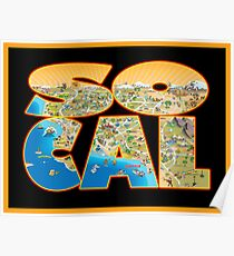 So Cal Cartoon Map Text Graphic Poster