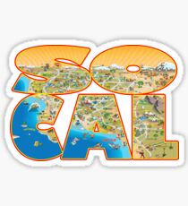 So Cal Cartoon Map Text Graphic Sticker