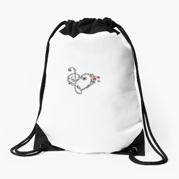 Treble and Bass Clef Flower Heart Drawstring Bag