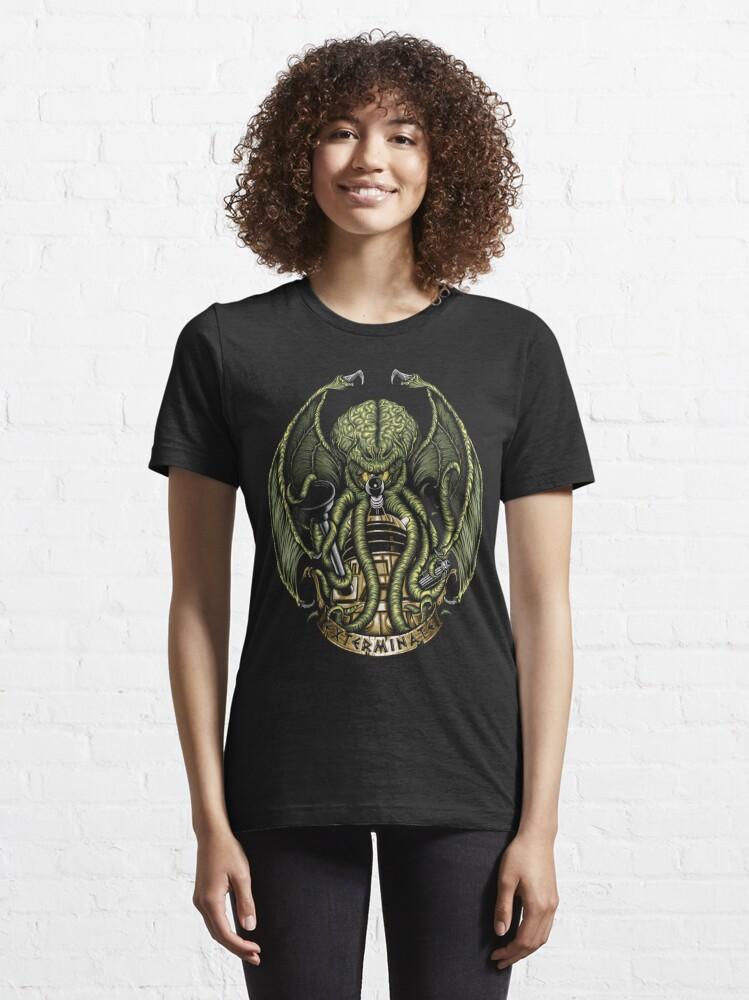 Alternate view of Cthulhu Exterminates Essential T-Shirt