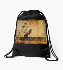 Man On A Red Swing Drawstring Bag