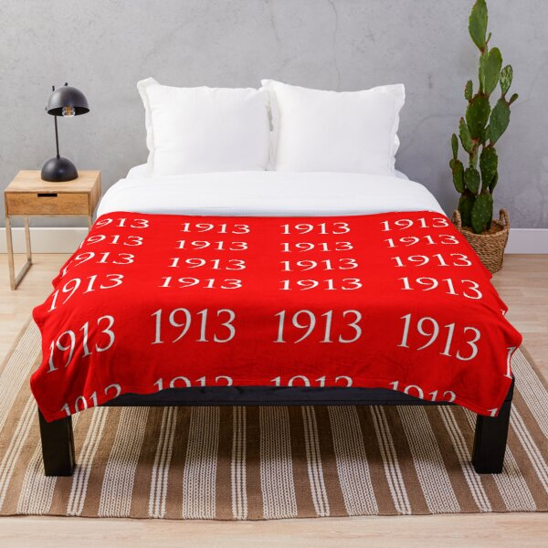 White 1913 on Red Throw Blanket
