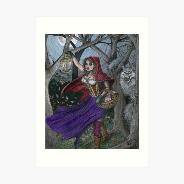 Little Red and the Big Bad Wolf Art Print