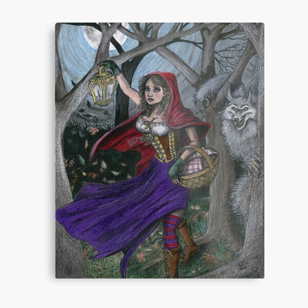 Little Red and the Big Bad Wolf Metal Print