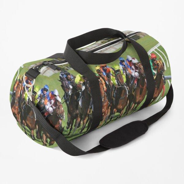 Horse racing action Duffle Bag