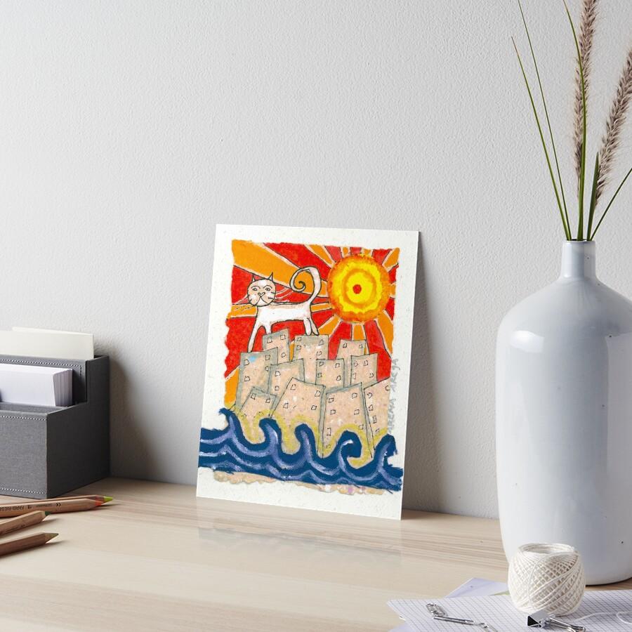 Gato en la ciudad Art Board Print